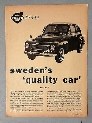 1957 Volvo PV444 Vintage 4-Page Article AD