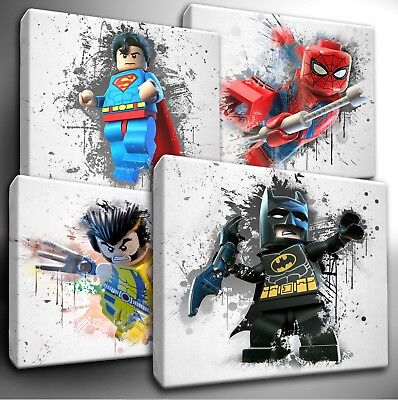 LEGO Marvel / DC Characters paint splatter CANVAS Wall Art Picture Prints