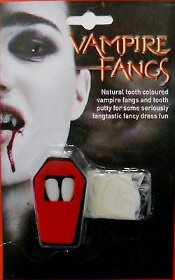 Vampire Dracula Fangs Halloween Fancy Dress Natural Teeth White With Putty Bite