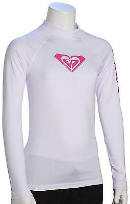 Roxy Girl's Whole Hearted LS Rash Guard - White / Pink - New