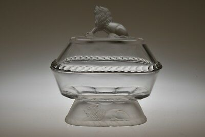"""c. 1877 LION by Gillinder & Sons CRYSTAL 7"""" L Oval Compote w/Cover"""