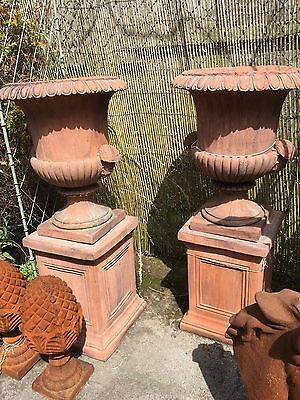 Terracotta English stoneware Pair of Urns on Bases Georgian Urn on base plinths