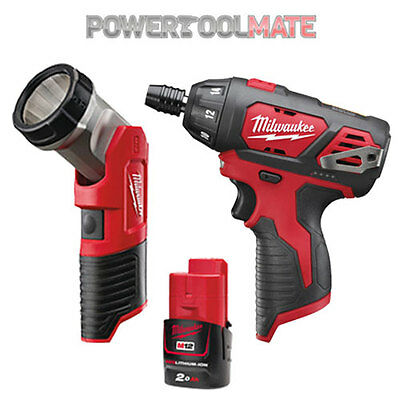 Milwaukee M12BSD Compact Screwdriver + M12TLED Torch + M12B2 2.0Ah Battery Combo