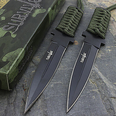"2 x 7"" TACTICAL COMBAT FIXED BLADE MILITARY STILETTO KNIFE Hunting Survival"