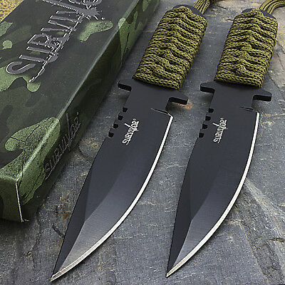"2 x 7.5"" TACTICAL COMBAT HUNTING BOWIE KNIFE Military Dagger Survival Blade"