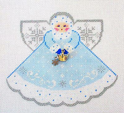 *NEW*  Snow Queen Angel handpainted Needlepoint Canvas Ornament Painted Pony