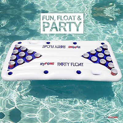 H2PONG Inflatable Beer Pong Table Float, Includes 5 Ping Pong Balls - Floating
