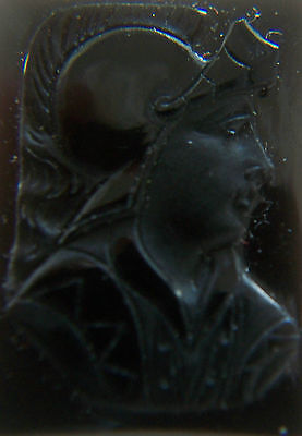Antique Roman Glass Intaglio - Hand Carved Warrior - Italy - Late 19th Century