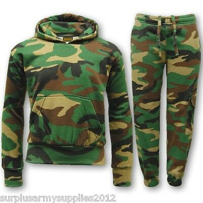 Kids Army Camo Tracksuit Outfit Hoodie Jogger Pants Boys Girls