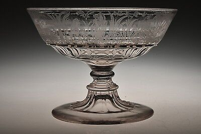 """c. 1881 OASIS by Hobbs ETCHED CRYSTAL 5 3/4"""" W Open Compote"""