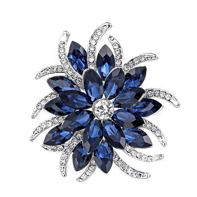 Silver Blue Sapphire Flower Bouquet Brooches Pin Jewelry Thanksgiving Day Gift