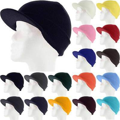 Plain Visor Beanie Knit Ski Cap Hat Warm Solid Color Winter Cuff New Beany New