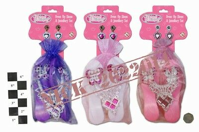 Princess Girls Dressing Up Toy Fluffy play Shoes, Necklace and Earring Assorted