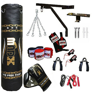 MADX 20 Piece Boxing Set 5ft Filled Heavy Punch Bag Gloves,Chains,Bracket,Kick