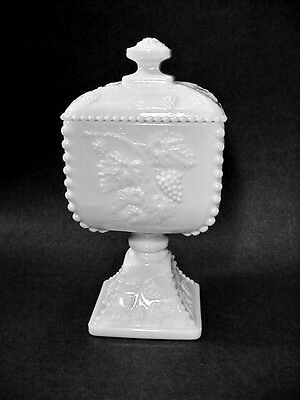 Westmoreland Milk Glass Beaded Grape, Covered Pedestal Candy Compote 1884 / 9""