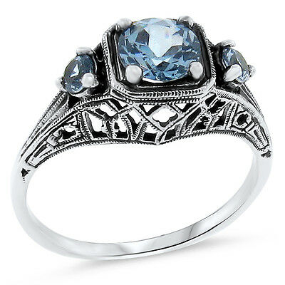 Sim Aquamarine Antique Style .925 Sterling Silver Filigree Ring Size 8.75,  #131