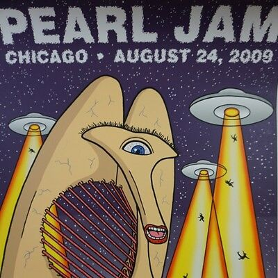 Pearl Jam - 2009 Tom Tomorrow poster Chicago United Center
