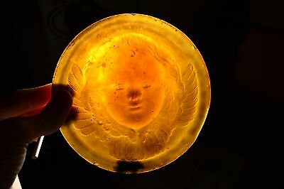 "Antique Tiffany Ecclesiastical Amber Glass Roundel with Cherub 5"" in Diameter"