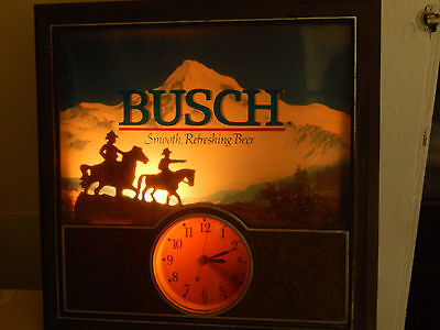 "Busch Smooth Refreshing Beer Clock Sign,  13.5"" x 13.5"" - Western Cowboy Horses"