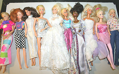 Barbie Doll Lot of 10 with Clothing-J