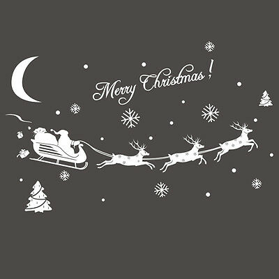 Christmas Glass Wall Window Stickers Santa Elk Christmas Decoration Party Gift