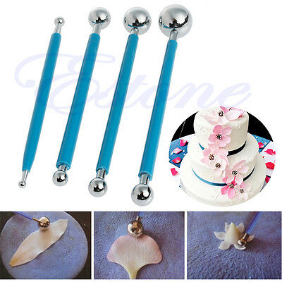 4 Pcs Fondant Cake Flower Metal Ball Modelling Decor Sugarcraft Tools New