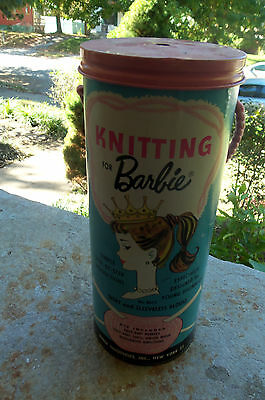 Vintage Antique Knitting Barbie Doll Sewing Kit 1962 Mattel Old Metal Tin Can