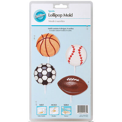 """Lollipop Mold-Sports 4 Cavity (4 Designs), Set Of 6"""