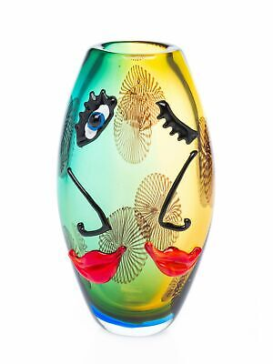 Decorative table vase - face design - italian murano style - glass