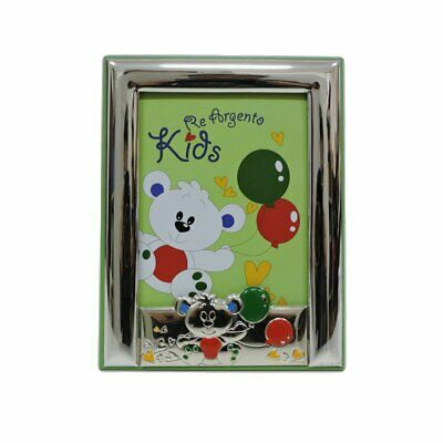Picture Frame Baby Bear Balloons Green 3,5x5'' in Silver