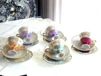 Fabulous Fine China Vintage   Harlequin Lustre Cups & Saucers Japan  Set Japan C