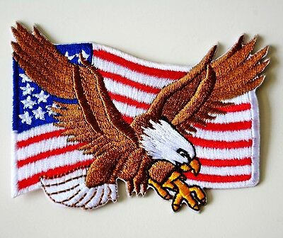 1x USA American Flag Eagle Patriotic Embroidered Iron-on Applique Patch DIY Hat