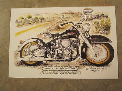 HARLEY DAVIDSON motorcycle by Bob Waldmire Route 66 color Post Card  Quik s&h!
