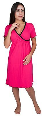 NEW! My Bella Mama Short Sleeve Cotton Nursing Nightgown Breastfeeding Sleepwear