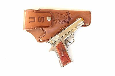 Vintage Hubley Toy Army Colt M1911 45 Cap Pistol w/ USMC Leather Holster #2