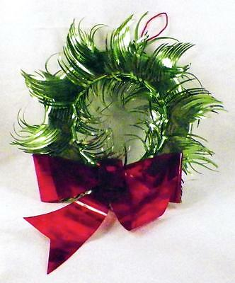 Vintage Foil Christmas Wreath Green Red Ribbon Decoration