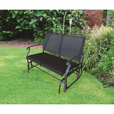 Two-seater Garden Glider Chair Steel Frame Smooth Relaxing Rocking - Black