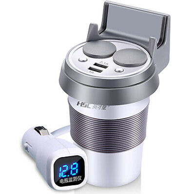 2 Way Dual USB Cigarette Lighter Car Charger + Voltage Display White Cup Holder