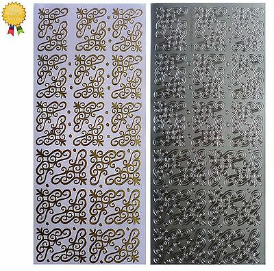 CURLED CORNERS Peel Off Stickers Stars Card Making Christmas Gold or Silver