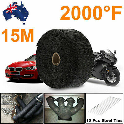 15M New Exhaust Header Wrap 10 Stainless Steel Ties High Quality Black AU Stock