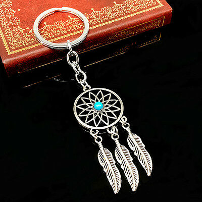 New Silver Feather Tassels Dreamcatcher Dream Catcher Pendant Keychain Key Ring