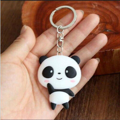 Cute Cartoon Soft Panda Keychain Keyring Bag Pendant Silicone Key Ring Chain