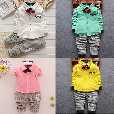 2Pcs Toddler Kids Baby Boys Outfits Clothes Shirt Tops+Long Pants Trousers Set