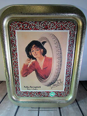 Kelly-Springfield Tires &Tubes Lotta Miles Tin Advertising Serving Tray 100 Year
