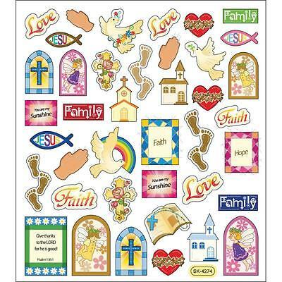Scrapbooking Crafts Stickers Religious Faith Family Church Footprints Rainbow