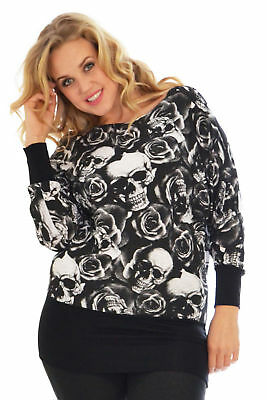 New Womens Top Plus Size Skull & Roses Ladies Batwing Long Sleeve Tunic Nouvelle