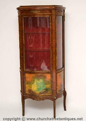 Antique French Style Gilt Mounted Display Cabinet - Serpentine Shaped Front