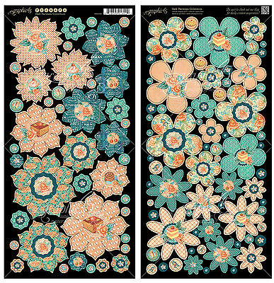 Graphic45 CAFE PARISIAN FLOWERS Cardstock Die-Cuts scrapbooking