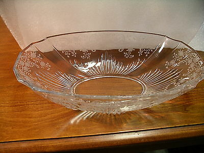 Fostoria Meadow Rose Etched Oval Serving  Bowl