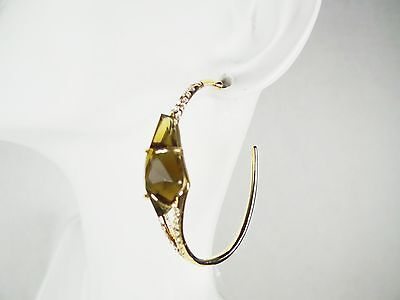 ALEXIS BITTAR Lovely Gold Plated Clear & Smoky Swarovski Crystal  Hoop Earrings